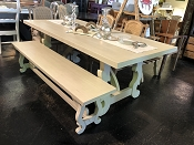 French Cathedral Cream Dining Table and Bench