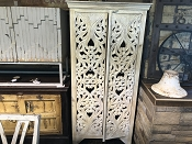 Natural Wood Carved 2 Door Almirah Cabinet