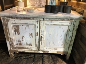 Coastal White Washed Reclaimed 2 Door Cabinet