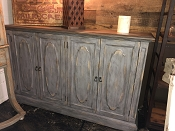 Traditional 4 Door Blue Grey Credenza