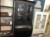 2 Door Black Glass Roll Top Cabinet