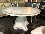 Round Shabby Chic White Dining Table