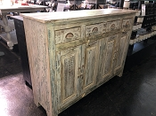 4 Drawer 4 Door Coastal White & Teals Buffet