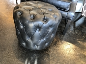 Black Leather Button Up Stool