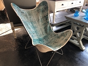Turkish Vintage Rug Teals Butterfly Chair