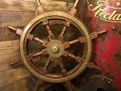 Antique Solid Brass and Wood Ship's Wheel