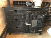 Reclaimed Black Stained Mango Wood Industrial Bar