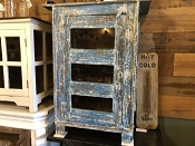 Deep Blue Glass Reclaimed Wood Cabinet or Vanity