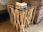 Natural Wood Branch Glass End Table