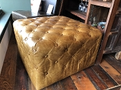 Square Leather Tuffed Ottoman