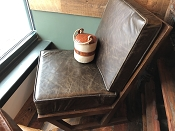 Leather V Sling Back Chair