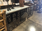 Coastal Teal And Iron Scrolled Console or Buffet