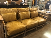 Leather Rustic Wood Couch