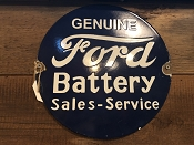 1950's Porcelain Round Dealership FORD Service Sign