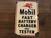 MOBIL Fast Battery Charger and Tester Porcelain Sign