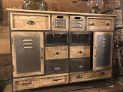 Industrial Meets Wood Multi Drawer Dresser