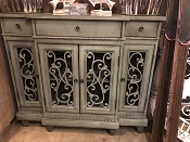 Green/Grey European Flare Meets Rustic Carved Credenza
