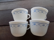 Vintage Morning Blue Pyrex Tea- Coffee Cups Set of 4