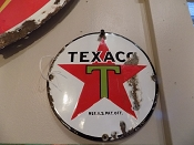 1940s Porcelain Texaco Small Pump Plate