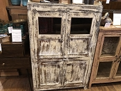 Farmhouse White Hutch With Glass Doors
