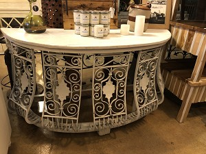 Wrought Iron White Half Moon Console